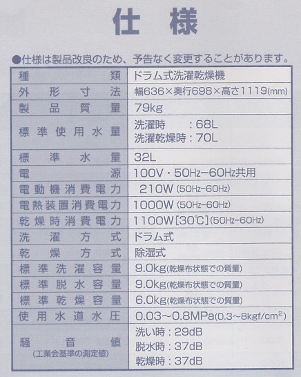洗濯機の説明書の使用水道水圧