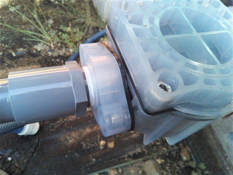 井戸ポンプの給水配管継手空気漏れ