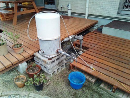 井戸ポンプが車載インバーターの電気で動いた