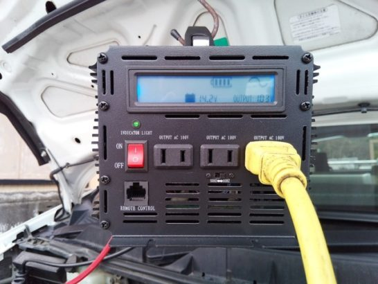 井戸ポンプの延長コードを車載インバーターに接続